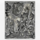 Some Are Dead and Some Are Living, 2020, cut toned gelatin silver print embedded in plaster, enamel paint, graphite, 20 x 16 x 1.5 inches