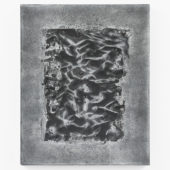 I Will Never Be Set Free as Long as I'm a Ghost You Can See, 2020, cut toned gelatin silver print embedded in plaster, enamel paint, graphite, 20 x 16 x 1.5 inches