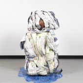 Figure I (front), 2020, plaster, yarn, ace bandages, resin, chicken wire, wax, 54 x 48 x 54 inches