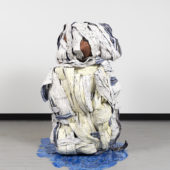 Figure I, 2020, plaster, yarn, ace bandages, resin, chicken wire, wax, 54 x 48 x 54 inches