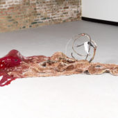 Drifting I, 2020, resin, cheesecloth, sawdust, found wood, ace bandage, 72 x 48 x 24 inches
