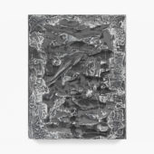 Sometimes It Causes Me to Tremble, 2O2O cut gelatin silver print embedded in plaster, enamel paint, graphite, 14 x 11 x 1.5 inches