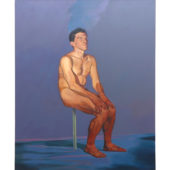 Man on a Stick, 1987, acrylic on canvas, 72 x 68 inches