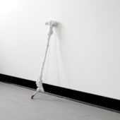 Walking Stick, 2020, wood, plaster, hardware, gauze. 36 x 5 x 2 inches
