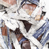 Detail, Figure I, 2020, plaster, yarn, ace bandages, resin, chicken wire, wax, 54 x 48 x 54 inches