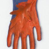 Leaf (Orange) 2018 acrylic on dyed cotton glove